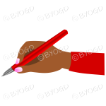 Female hand writing with a shiny red pen.