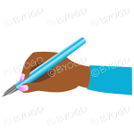 Female hand writing with a shiny light blue pen.