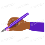 Female hand writing with a shiny purple pen.