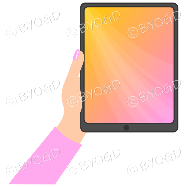 Female hand with light pink sleeve holding a tablet with pink screen background