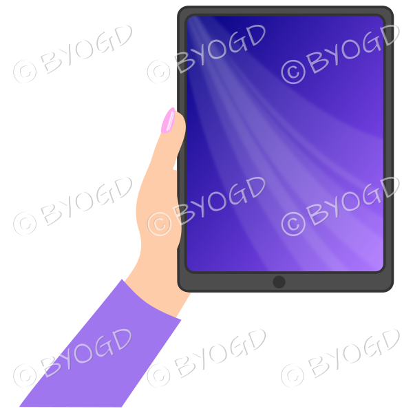 Female hand with purple sleeve holding a tablet with purple screen background