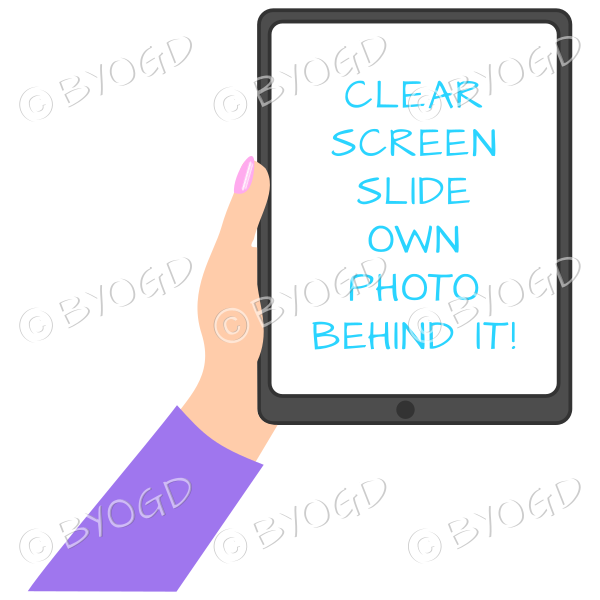 Female hand with purple sleeve holding a tablet with blank screen