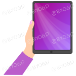 Female hand with dark pink sleeve holding a tablet with pink screen background