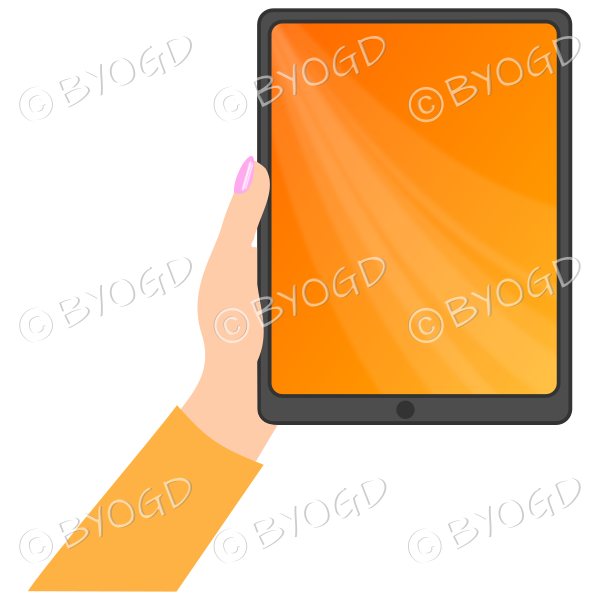Female hand with orange sleeve holding a tablet with orange screen background