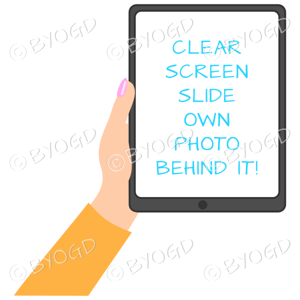 Female hand with orange sleeve holding a tablet with blank screen
