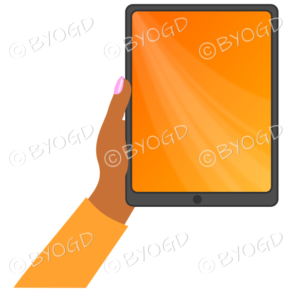 Dark skinned female hand with orange sleeve holding a tablet with orange screen background