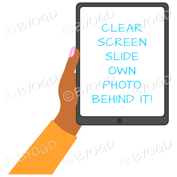 Dark skinned female hand with orange sleeve holding a tablet with blank screen
