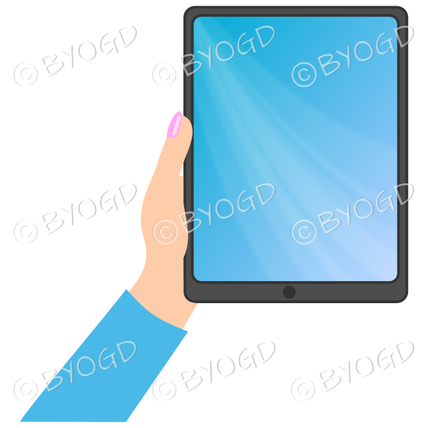Female hand with blue sleeve holding a tablet with blue screen background