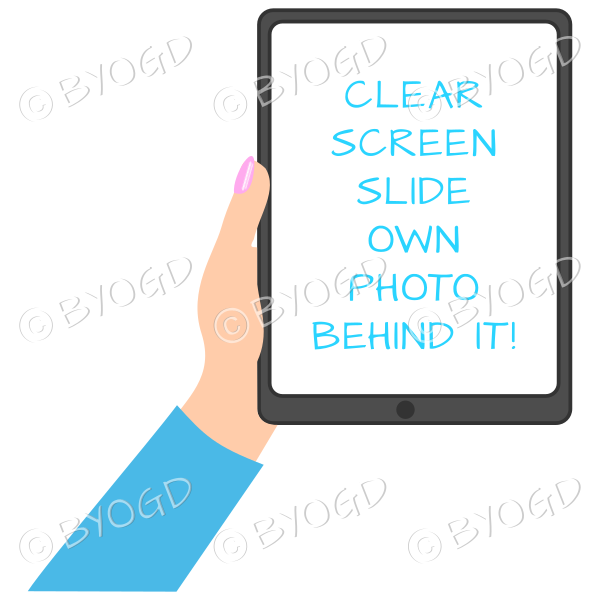 Female hand with blue sleeve holding a tablet with blank screen