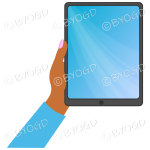 Dark skinned female hand with blue sleeve holding a tablet with blue screen background