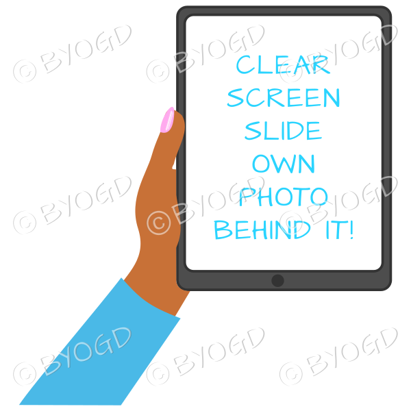 Dark skinned female hand with blue sleeve holding a tablet with blank screen