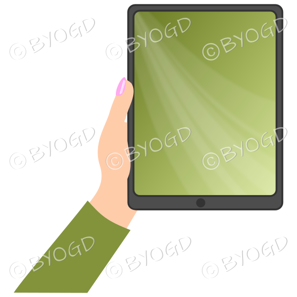 Female hand with green sleeve holding a tablet with green screen background