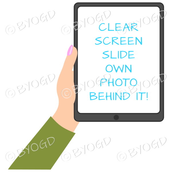 Female hand with green sleeve holding a tablet with blank screen