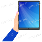 Female hand with dark blue sleeve holding a tablet with dark blue screen background