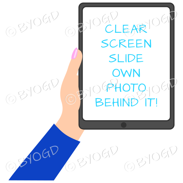 Female hand with dark blue sleeve holding a tablet with blank screen