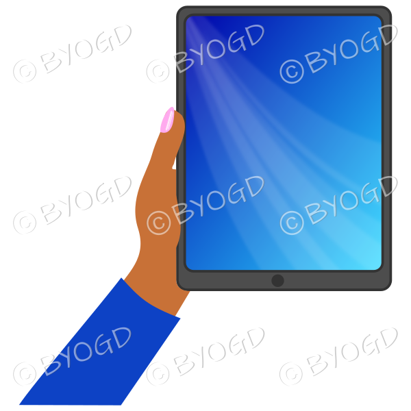 Dark skinned female hand with dark blue sleeve holding a tablet with dark blue screen background