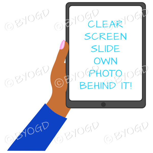 Dark skinned female hand with dark blue sleeve holding a tablet with blank screen