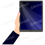 Female hand with black sleeve holding a tablet with black screen background