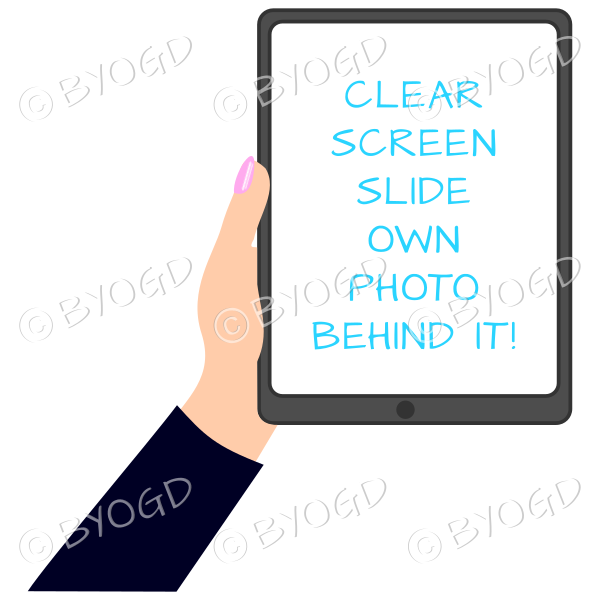 Female hand with black sleeve holding a tablet with blank screen