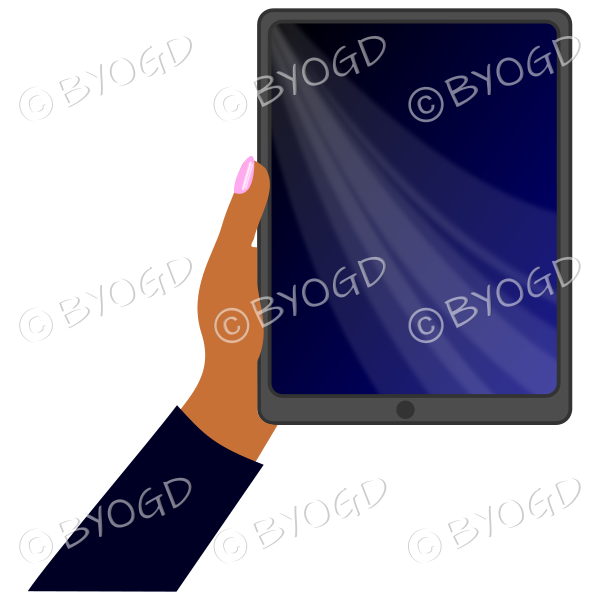 Dark skinned female hand with black sleeve holding a tablet with black screen background