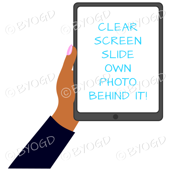 Dark skinned female hand with black sleeve holding a tablet with blank screen