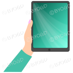 Female hand with bright green sleeve holding a tablet with bright green screen background