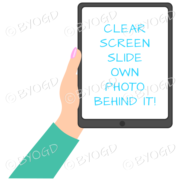 Female hand with bright green sleeve holding a tablet with blank screen
