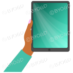Dark skinned female hand with bright green sleeve holding a tablet with bright green screen background