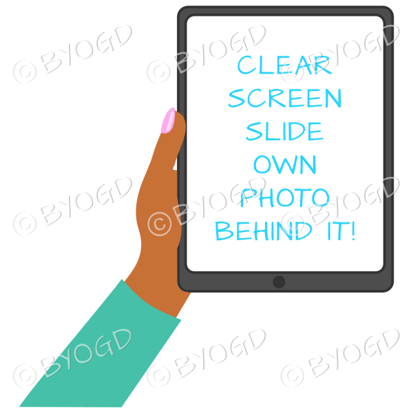 Dark skinned female hand with bright green sleeve holding a tablet with blank screen