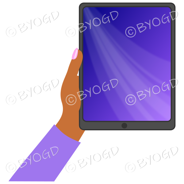 Dark skinned female hand with purple sleeve holding a tablet with purple screen background
