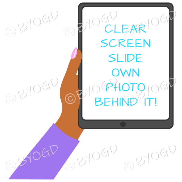 Dark skinned female hand with purple sleeve holding a tablet with blank screen