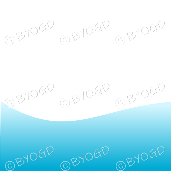 White background with blue sea / sky landscape graduated light to dark