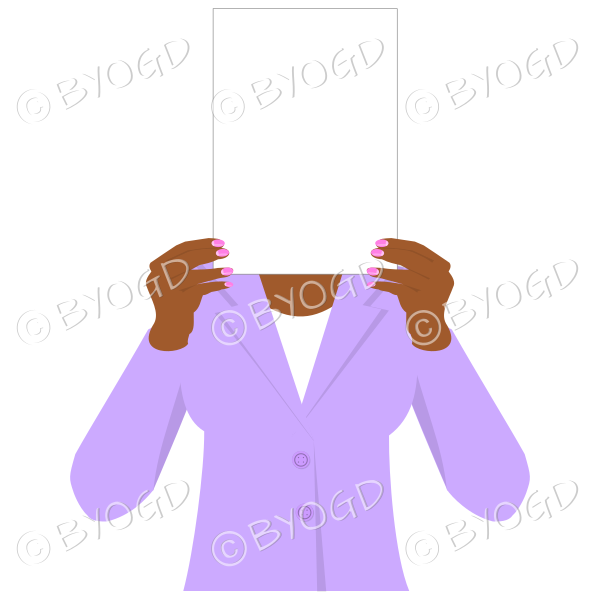 Girl in purple with blank page for your message - dark hands