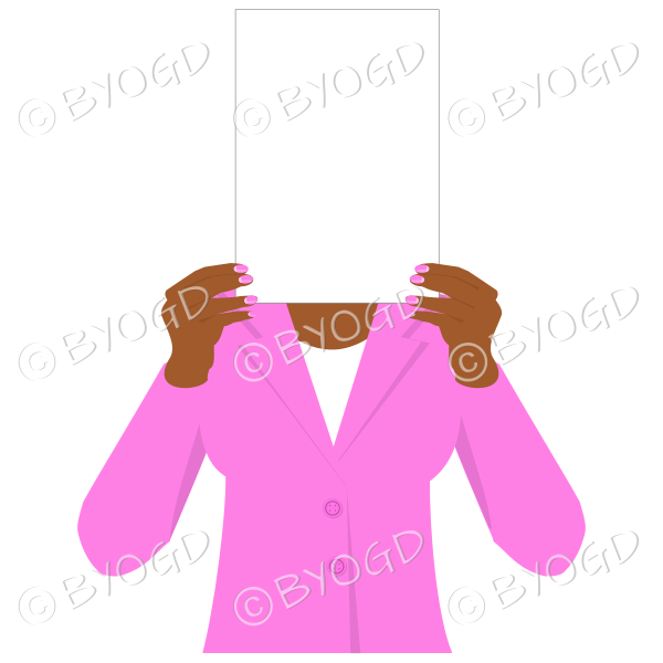 Girl in pink with blank page for your message – dark hands