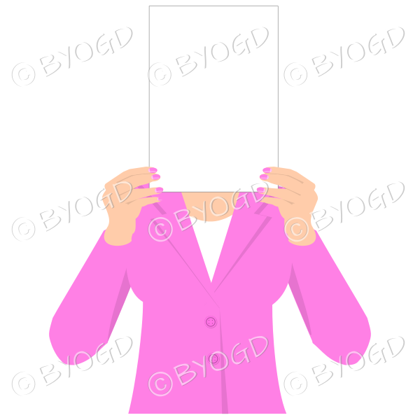 Girl in pink with blank page for your message