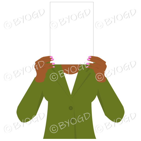 Girl in green with blank page for your message – dark hands