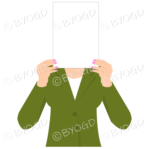 Girl in green with blank page for your message