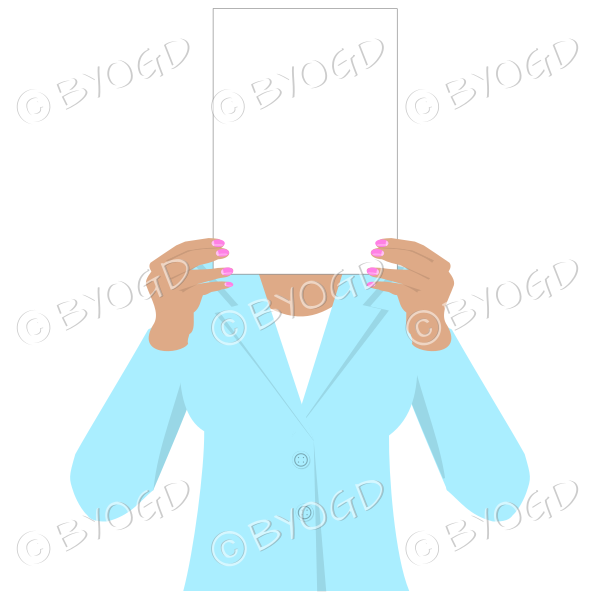 Girl in light blue with blank page for your message – dark hands
