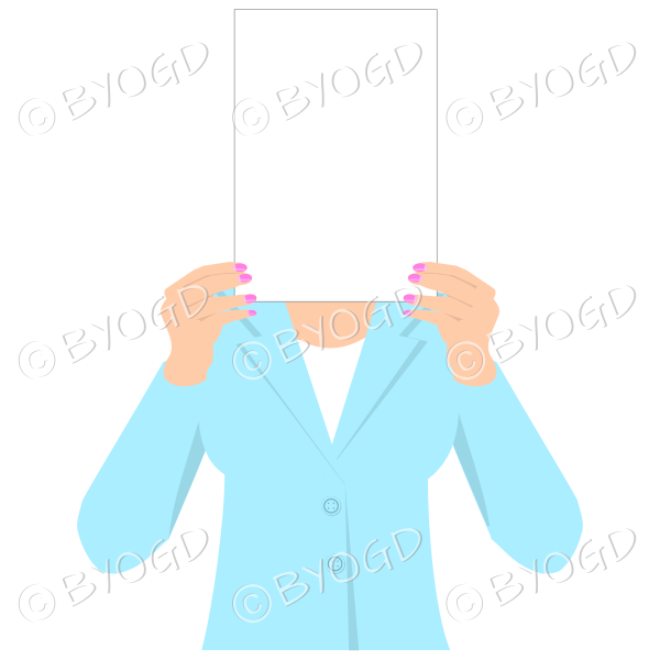 Girl in light blue with blank page for your message