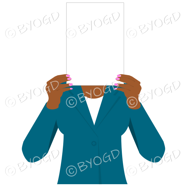 Girl in blue with blank page for your message – dark hands