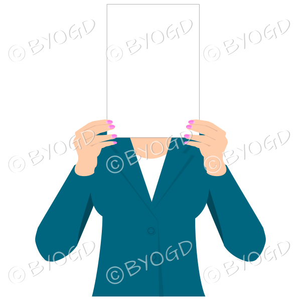 Girl in blue with blank page for your message