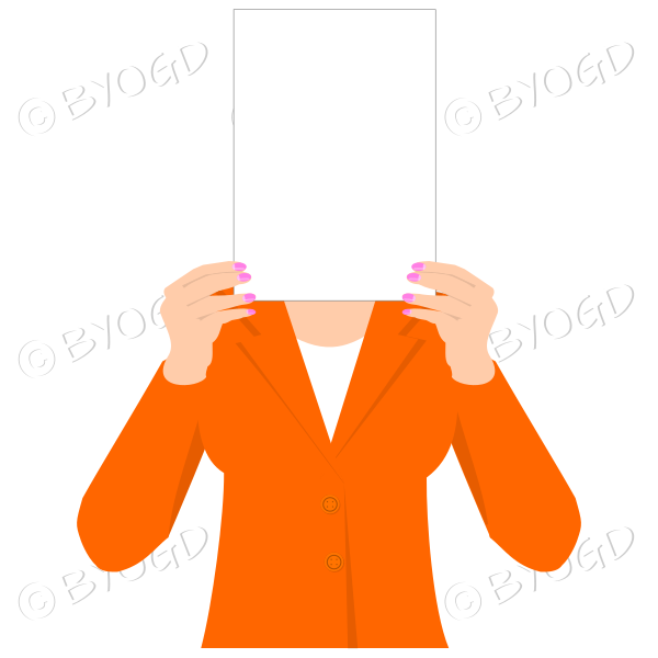 Girl in orange with blank page for your message