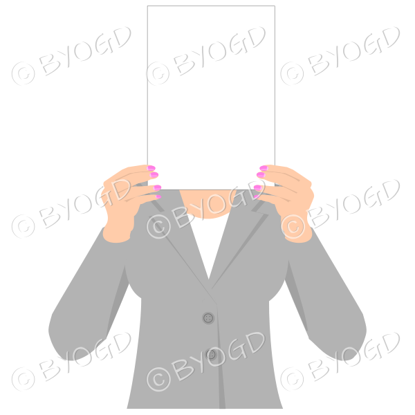 Girl in grey with blank page for your message