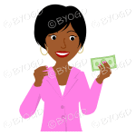 Girl with short black hair wearing pink holding money
