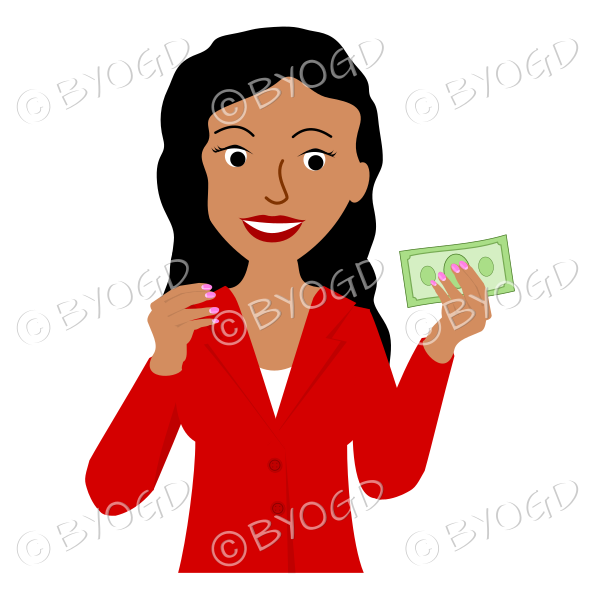 Girl with long black hair in red holding money
