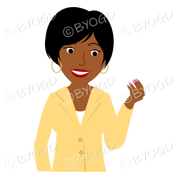 Girl in yellow jacket with short black hair one hand raised