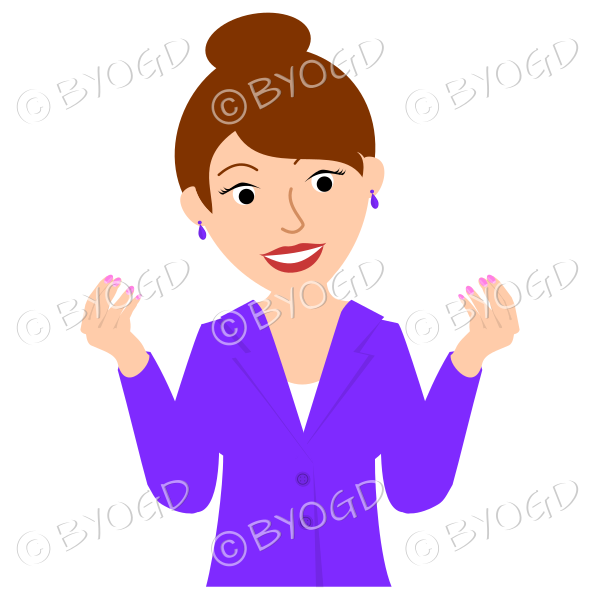 Girl in purple jacket with brown hair up in a bun both hands raised