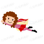 Red curly haired Super hero flying girl in red