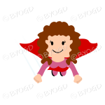 Red curly haired Super hero flying girl in red flying towards you