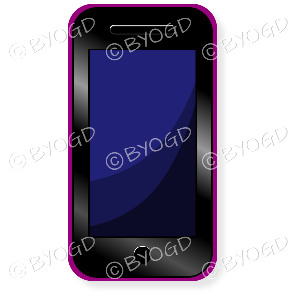 Smart phone with blue screen and pink case